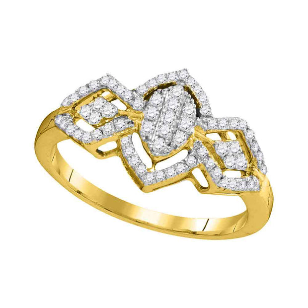 10kt Yellow Gold Womens Round Diamond Oval Cluster Ring 1/3 Cttw