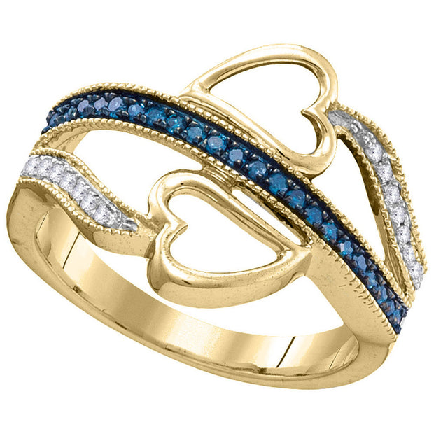 10kt Yellow Gold Womens Round Blue Color Enhanced Diamond Double Heart Ring 1/5 Cttw