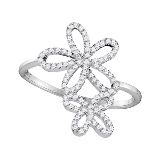 10kt White Gold Womens Round Diamond Flower Star Cluster Ring 1/5 Cttw