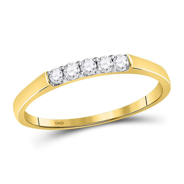 10kt Yellow Gold Womens Round Diamond Single Row 5-stone Band Ring 1/6 Cttw