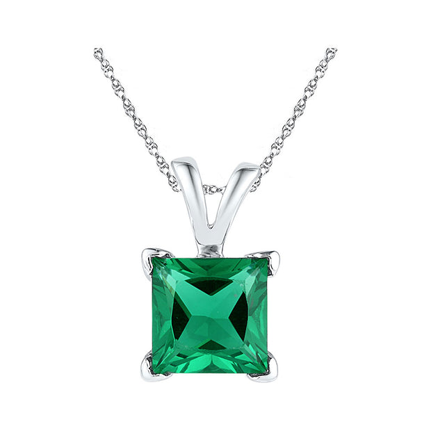 10kt White Gold Womens Princess Lab-Created Emerald Solitaire Pendant 1-1/3 Cttw