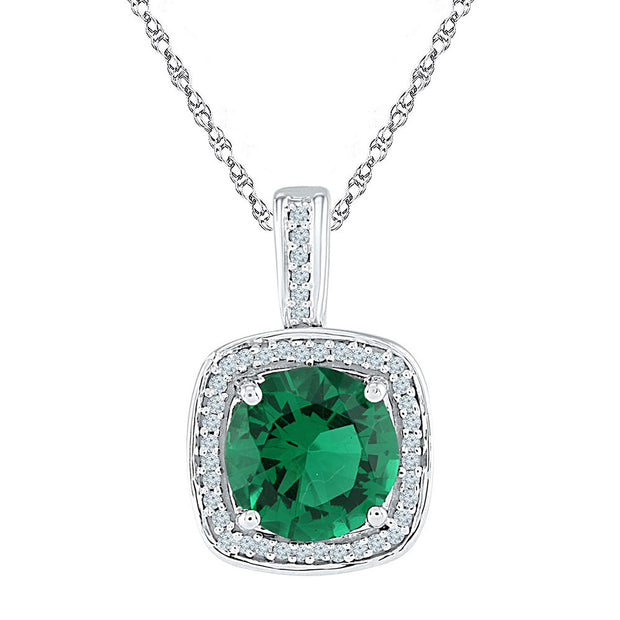 Sterling Silver Womens Round Lab-Created Emerald Solitaire Diamond Pendant 4.00 Cttw
