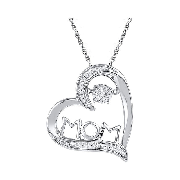Sterling Silver Womens Round Diamond Mom Mother Heart Moving Twinkle Pendant 1/10 Cttw