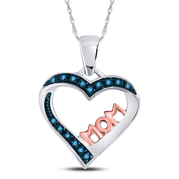 Sterling Silver Womens Round Blue Color Enhanced Diamond Heart Mom Pendant 1/10 Cttw
