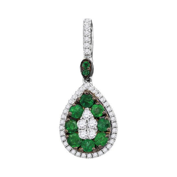 18kt White Gold Womens Round Natural Emerald Diamond Teardrop Cluster Pendant 7/8 Cttw