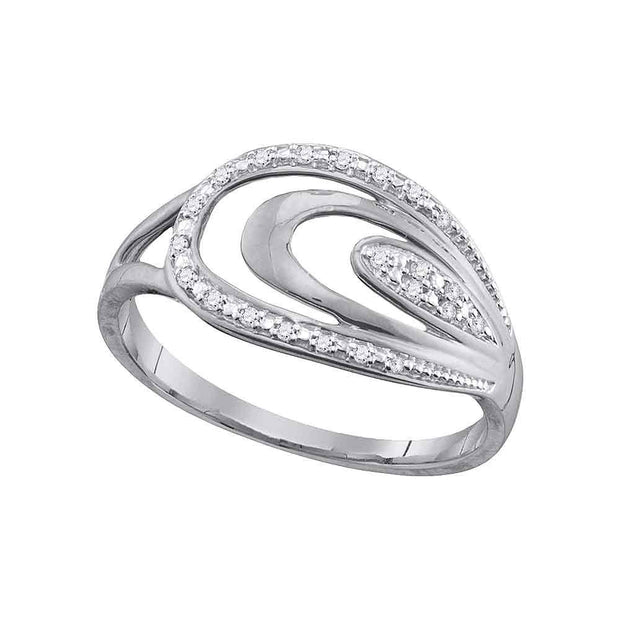 10kt White Gold Womens Round Diamond Oval Fashion Ring 1/20 Cttw