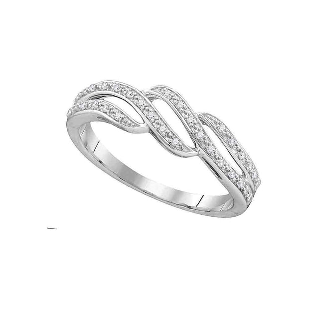10kt White Gold Womens Round Diamond Band Ring 1/10 Cttw