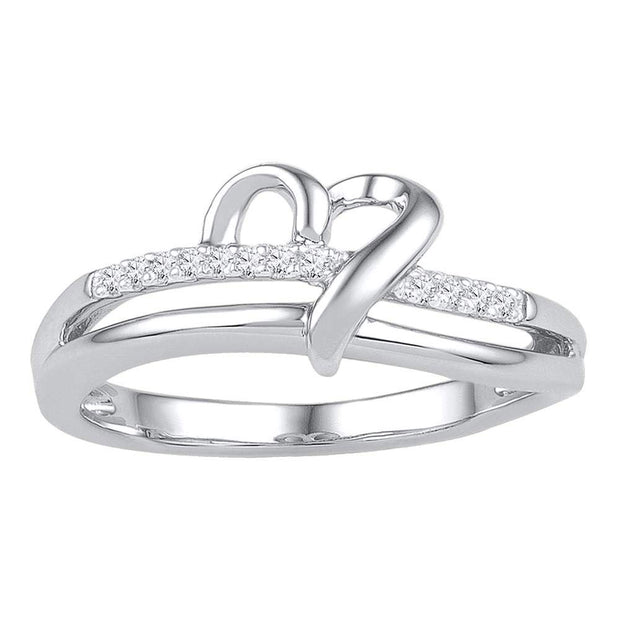 10kt White Gold Womens Round Diamond Heart Ring 1/20 Cttw