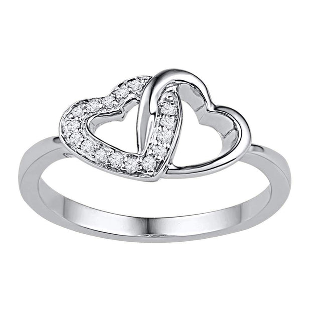 10kt White Gold Womens Round Diamond Double Locked Heart Ring 1/12 Cttw