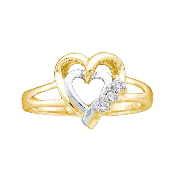 Two-tone Sterling Silver Womens Round Diamond Double Heart Ring .03 Cttw Size 9
