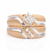Women's Two Tone Yellow and White 14 Karat Wedding Set with Diamonds