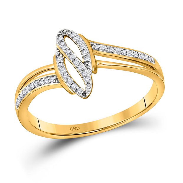 10kt Yellow Gold Womens Round Diamond Fashion Ring 1/12 Cttw