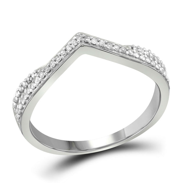 10kt White Gold Womens Round Diamond Chevron Band Ring 1/8 Cttw