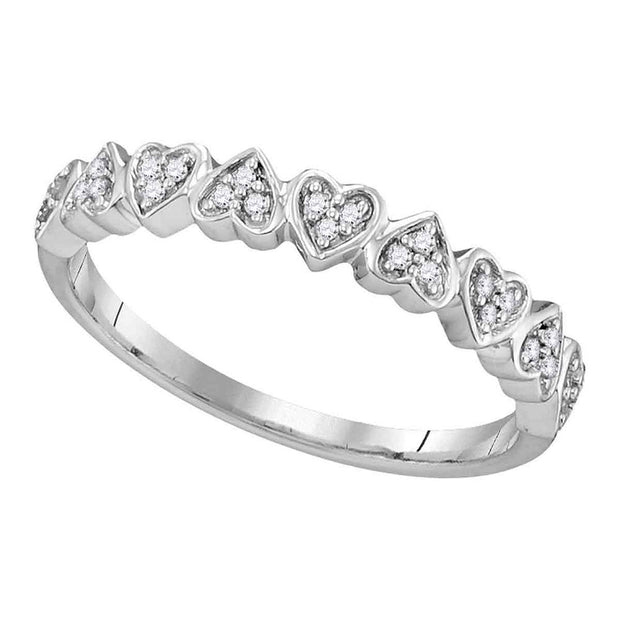 10kt White Gold Womens Round Diamond Heart Ring 1/10 Cttw