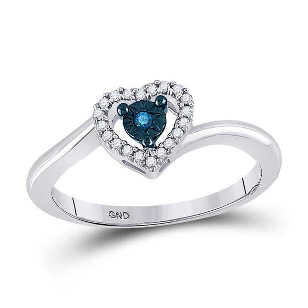 10kt White Gold Womens Round Blue Color Enhanced Diamond Heart Ring 1/10 Cttw