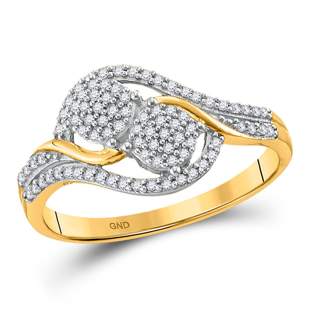 10kt Yellow Gold Womens Round Diamond Double Circle Cluster Ring 1/5 Cttw