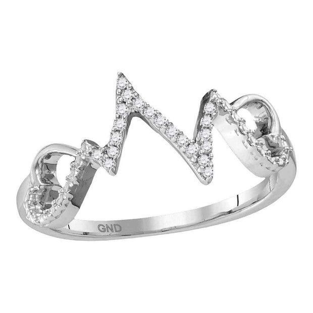 Sterling Silver Womens Round Diamond Heart Heartbeat Ring 1/12 Cttw