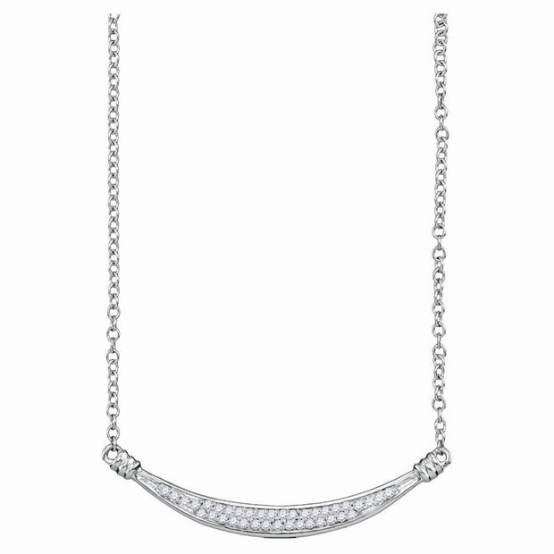 10kt White Gold Womens Round Diamond Curved Bar Pendant Necklace 1/6 Cttw