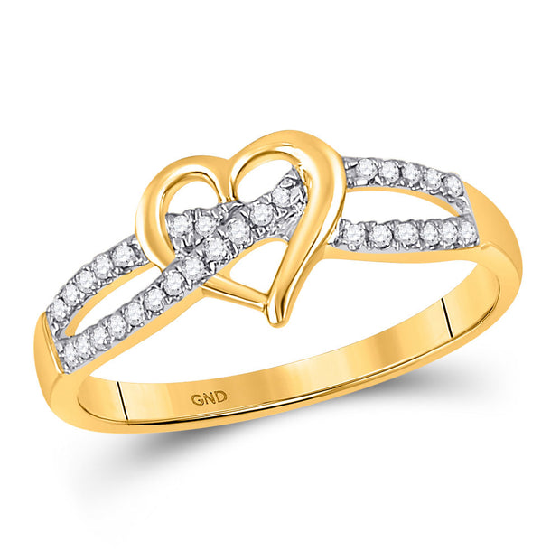10kt Yellow Gold Womens Round Diamond Woven Heart Ring 1/6 Cttw