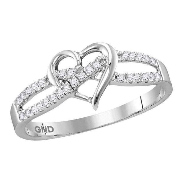 10kt White Gold Womens Round Diamond Woven Heart Ring 1/6 Cttw