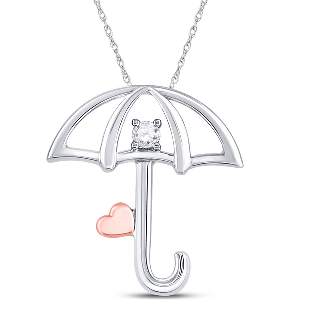 Sterling Silver Womens Round Diamond Umbrella Heart Fashion Pendant 1/20 Cttw
