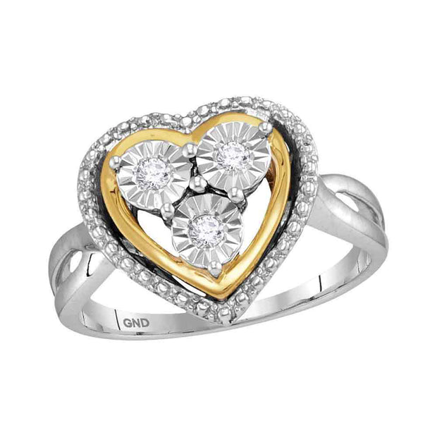 Sterling Silver Two-Tone Womens Round Diamond Heart Ring 1/10 Cttw