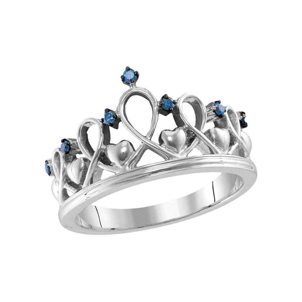 Sterling Silver Womens Round Blue Color Enhanced Diamond Crown Tiara Ring 1/12 Cttw