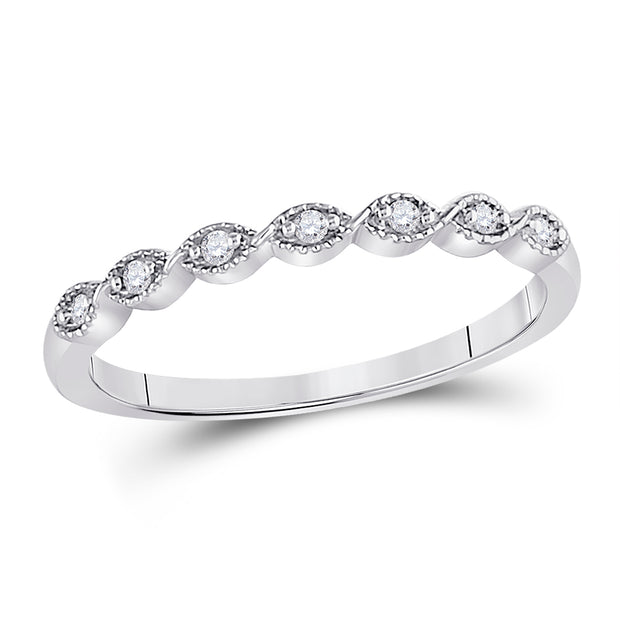 14kt White Gold Womens Round Diamond Classic Stackable Band Ring 1/20 Cttw