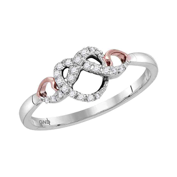 10kt Two-tone White Gold Womens Round Diamond Infinity Knot Heart Ring 1/10 Cttw