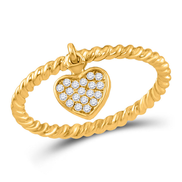 10kt Yellow Gold Womens Round Diamond Heart Dangle Rope Stackable Band Ring 1/10 Cttw