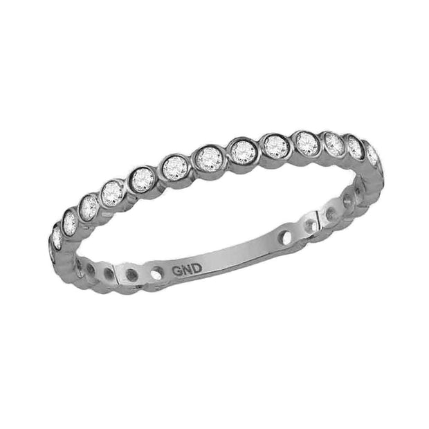 10kt White Gold Womens Round Diamond Bezel Set Stackable Band Ring 1/5 Cttw