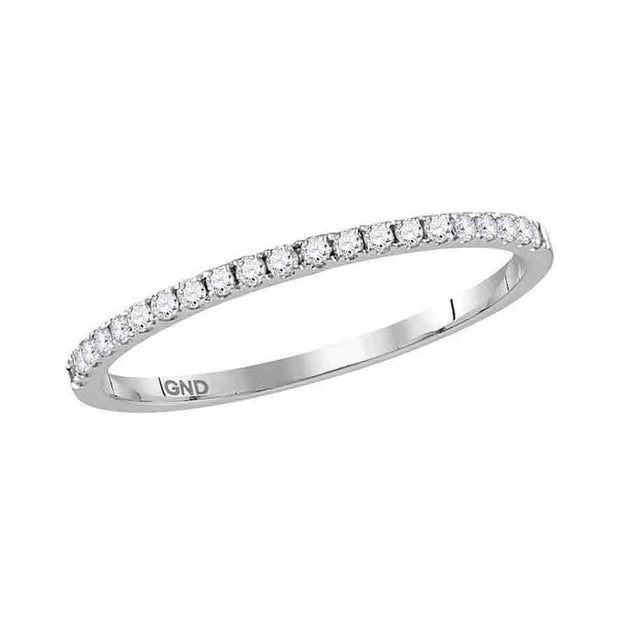 10kt White Gold Womens Round Diamond Timeless Stackable Band Ring 1/6 Cttw