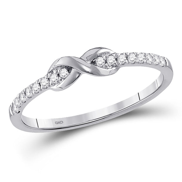 10kt White Gold Womens Round Diamond Infinity Knot Stackable Ring 1/10 Cttw