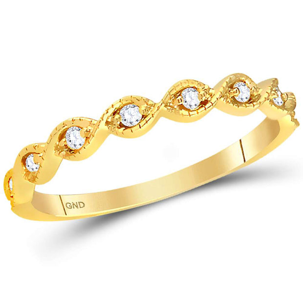14kt Yellow Gold Womens Round Diamond Twist Stackable Band Ring 1/10 Cttw