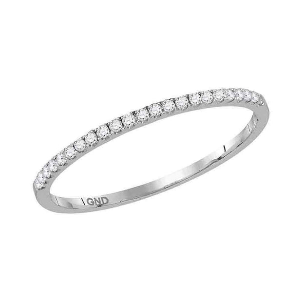 14kt White Gold Womens Round Diamond Timeless Stackable Band Ring 1/8 Cttw