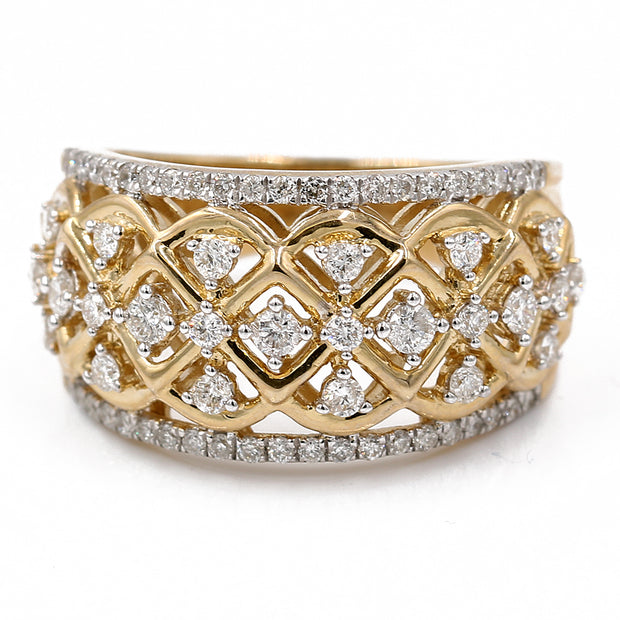 Women's Yellow 10 Karat Bridal Diamond Fashion Ring With 0.75Tw Round Diamonds