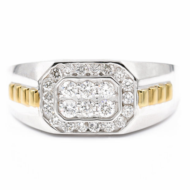 Men's Two Tone White/Yellow 10K Diamond Ring