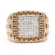 Men's  Yellow 14 Karat Contemporary Diamond Ring with 0.85 Tw Round Diamonds