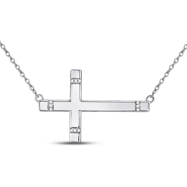 Sterling Silver Womens Round Diamond Horizontal Cross Necklace 1/20 Cttw