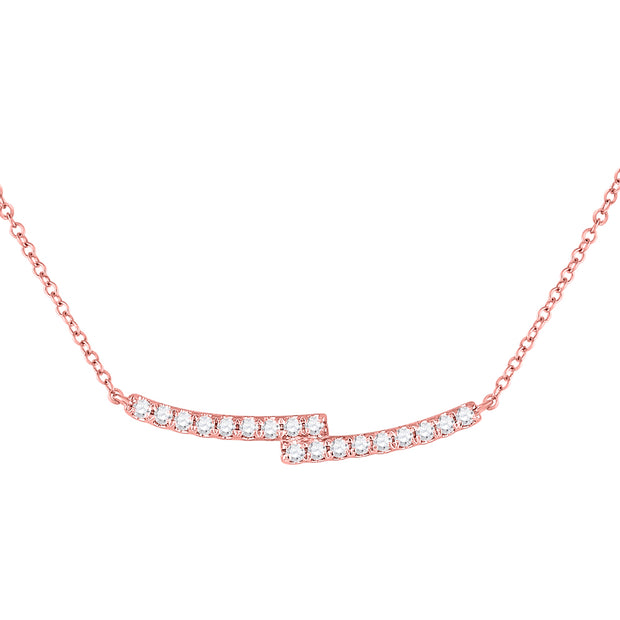 14kt Rose Gold Womens Round Diamond Curved Bypass Bar Necklace 1/2 Cttw