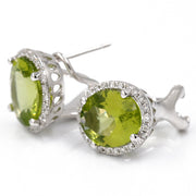 Women's White 14 Karat Huggie Diamond Earrings With 0.33Tw Round Diamonds And 5.44Tw Oval Peridots