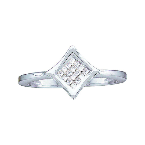 14kt White Gold Womens Princess Diamond Square Cluster Ring 1/8 Cttw