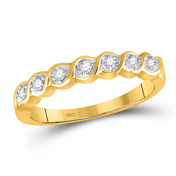 10kt Yellow Gold Womens Round Prong-set Diamond Band 1/12 Cttw