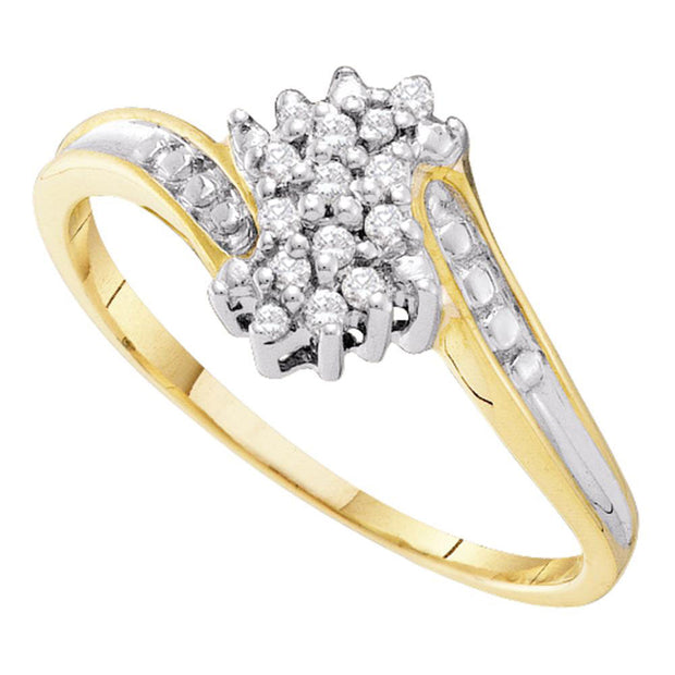 10kt Two-tone Gold Womens Round Diamond Cluster Ring 1/10 Cttw