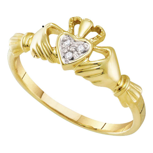 10kt Yellow Gold Womens Round Diamond Claddagh Heart Ring .02 Cttw