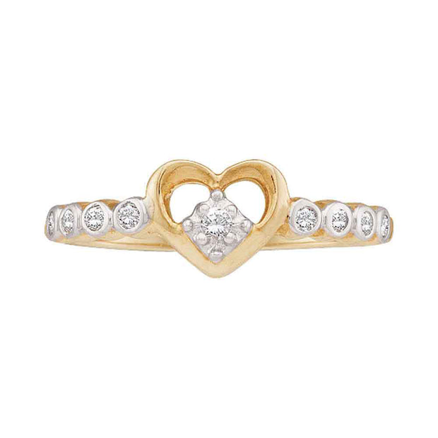 10kt Yellow Gold Womens Round Diamond Slender Heart Ring 1/10 Cttw