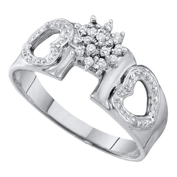 14kt White Gold Womens Round Diamond Heart Ring 1/10 Cttw