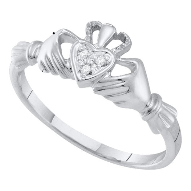 14kt White Gold Womens Round Diamond Claddagh Heart Ring .01 Cttw