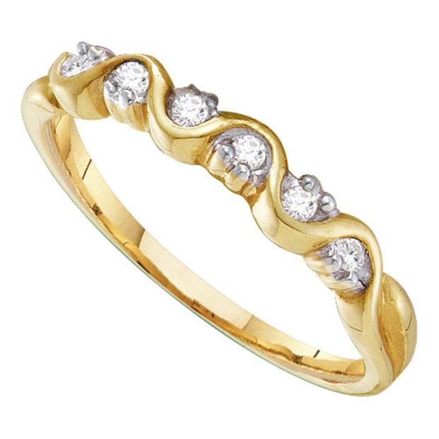 10kt Yellow Gold Womens Round Diamond Wave Band Ring 1/10 Cttw