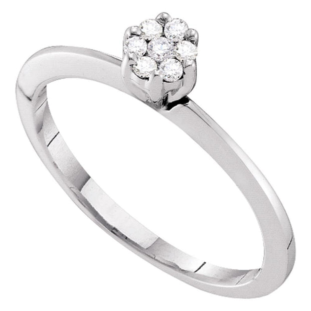 10kt White Gold Womens Round Diamond Flower Cluster Ring 1/8 Cttw